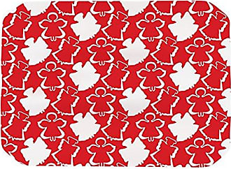 KESS InHouse Miranda Mol Dancing Angels Red White Place Mat, 17 by 12-Inch