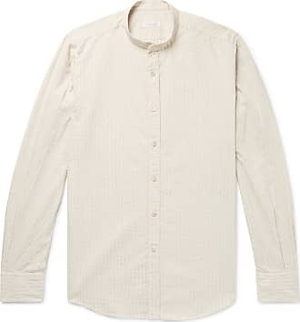 Incotex Grandad-collar Striped Cotton And Linen-blend Shirt - Cream