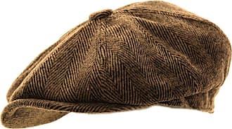 Hawkins Mens Herringbone Baker Boy Caps Newsboy Hat Country Style Flat Cap (Brown, 58cm)
