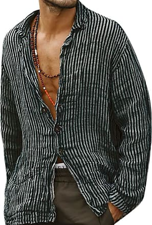 Hellomiko oneforus Mens Striped Retro Distressed Shirt,Casual Cotton and Linen Long Sleeve Shirt Breasted Cardigan Thin Coat Black
