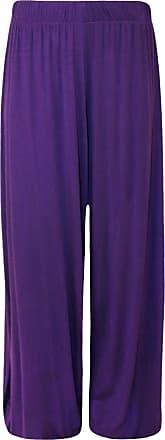 Generic New Womens Wide Leg Bottoms Flared Plus Size Pants Palazzos Plain Trousers