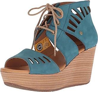 CAT Womens Alma Ghillie Tie Platform Wedge Sandal, Legion Blue, 9.5 Medium US