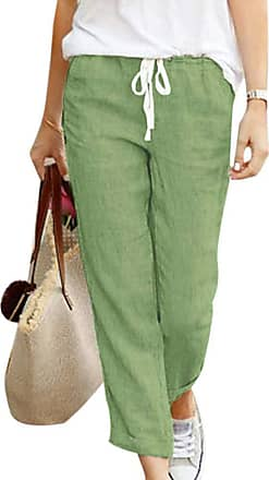 TOMWELL Womens Summer Plus Size Elastic Waist Pants Loose Casual Solid Color Trousers Cotton and Linen with Drawstring Green Medium