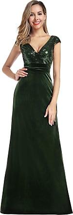 Ever-pretty Womens Cap Sleeve V Neck A Line Elegant Long Velvet and Sequin Evening Dresses Dark Green 10UK