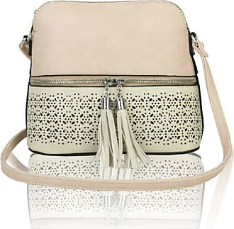 LeahWard Womens Quality Faux Leather Cross Body Bags Tassel Shoulder Bag Handbags For Holiday Party 1061 (RX171061-Pale Pink/Pearl)