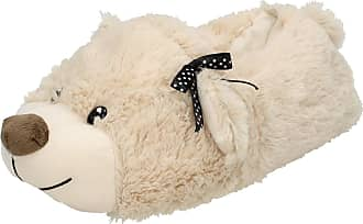 Spot On Ladies Spot On Flat Novelty Bear Slippers X2092 - Natural Textile Fabric - UK Size 3-4 - EU Size 36-37 - US Size 5-6