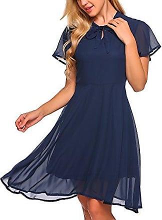 c0b6693216f162 Zeagoo Damen Elegant Chiffonkleid Sommerkleid Partykleid Hochzeit  Festliches Kleid A Linie Kurzarm Knielang, Marineblau,