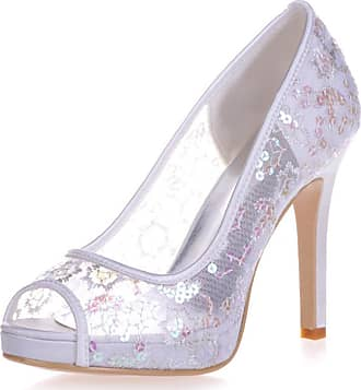 Clearbridal Womens Satin Wedding Bridal Shoes Open Peep Toe Stiletto Heel Evening Porm Sandals with Crystal ZXF6041-02