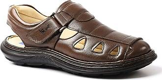 Doctor Shoes Antistaffa Sandália Masculina 917302 em Couro Floater Café Doctor Shoes-Marrom-38