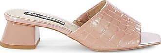 Karl Lagerfeld Macaria Croc-Embossed Leather Block Heel Sandals