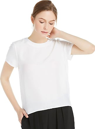 LilySilk Womens Charmeuse Silk T Shirt High Low Blouse Top Shirt Ladies Short Sleeve 22 Momme Pure Silk White Size XXL