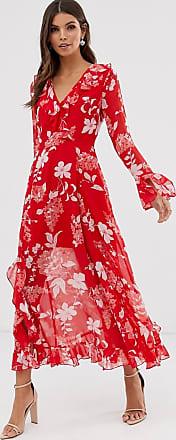 Asos Vestido largo con diseño cruzado y volantes con estampado floral rojo de ASOS DESIGN-Multicolor
