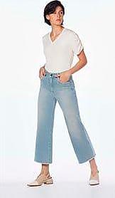 Lebôh Calça Wide Cos Alto Barra Assimetrica Jeans 36