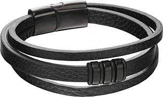 Acotis Limited Fred Bennett 3 Row Black Ip Leather Wristwear Bracelet B5160