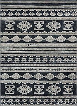 Well Woven PE-88-7 Pearl Kanab Modern Tribal Geometric Dark Grey Soft Area Rug 710 x 910