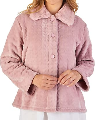 Slenderella Ladies Bed Jacket Faux Fur Collar Super Soft Fleece Button Up House Coat Medium (Pink)