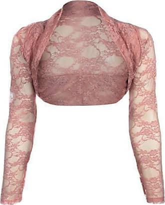 Top Fashion18 Womens Long Sleeve Lace Floral Ladies Cropped Short Shrug Bolero Cardigan Top 8-22 Peach