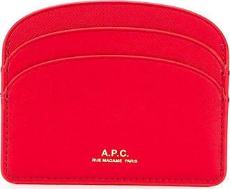 A.P.C. Porta-cartões de couro Demi-Lune - Vermelho
