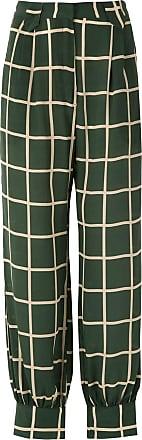 Adriana Degreas Calça cargo quadriculada de seda - Verde