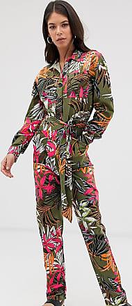 Asos Tall ASOS DESIGN Tall tropical print boilersuit-Multi