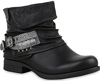 0c3544eb5651a0 Stiefelparadies Stylische Damen Stiefeletten Stiefel Biker Boots Metallic  Nieten Schuhe 121408 Schwarz Schnalle 41 Flandell