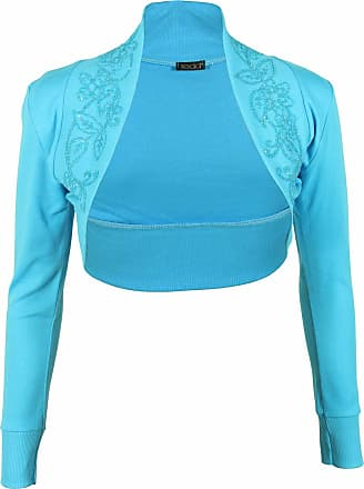 Purple Hanger Ladies Plus Size Long Sleeved Bead Stretch Top Womens Short Bolero Crop Cardigan Shrug Turquoise Size 24 - 26