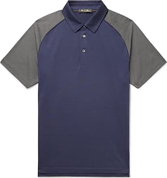 Loro Piana Colour-block Silk And Cotton-blend Polo Shirt - Navy