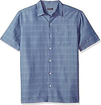 Van Heusen Mens Air Short Sleeve Button Down Poly Rayon Stripe Shirt, Blue Jeans, Small