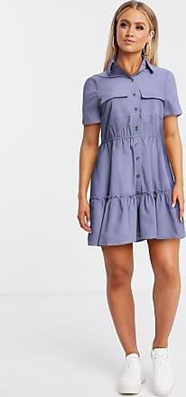Qed London Hemdkleid in Kornblumenblau mit abgestuftem Saum