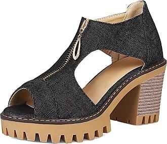 Mediffen Dieenia Women Sandals Casual Block Heel Sandals Denim High Heel Sandals Peep Toe Platform Sandals Zip Black Size 7.5 UK/42