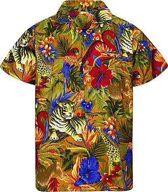 V.H.O. Funky Hawaiian Shirt, Shortsleeve, Jungle, Mustard, 3XL