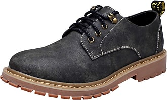 Insun Mens Leather Plain Toe Oxford Shoes Black UK 4.5
