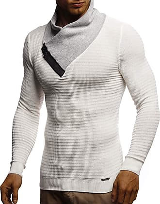 LEIF NELSON Mens Pullover Knit Sweater fine Knit Shawl Collar LN-1730 Crude Grey Large