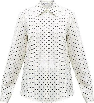 Gabriela Hearst Mirtha Polka-dot Pintuck-pleat Silk Shirt - Womens - Navy White
