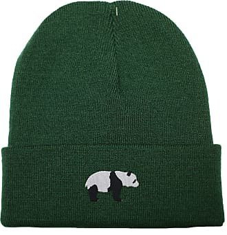 HippoWarehouse Panda Bear Embroidered Beanie Hat Bottle Green