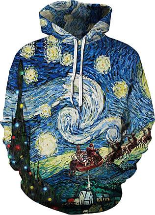 EUDOLAH Mens Hoodie Animal Pattern with 3D Print Design Halloween Costume Christmas Hoodie Long Sleeve(UK 14-16 (Tag 2XL),Van Gogh 197)
