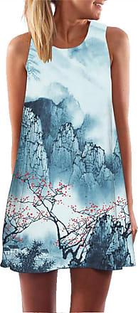 Ocean Plus Womens Sleeveless Vintage Boho Beach Dress Sundress Tank Tops Beach Dress Round Neck Short A Line Shirt Dress Blouse Dress (XXL (UK 14-16), Plum Bloss