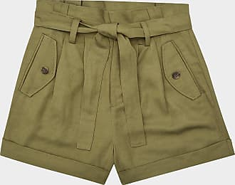 Reiss Lorena - Pleated Twill Shorts in Olive, Womens, Size 10