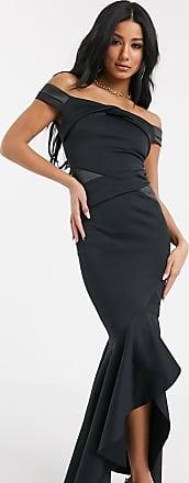 Lipsy Vestito lungo nero a pannelli con scollo alla Bardot