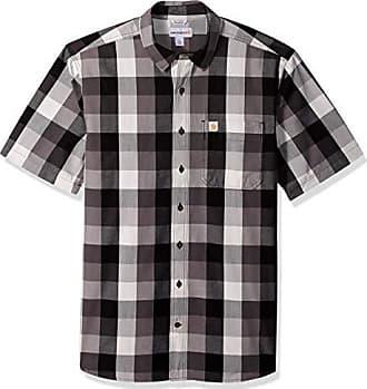 Carhartt Work in Progress Mens Big and Tall Big & Tall Essential Plaid Open Collar Short Sleeve Shirt, Charcoal, Large