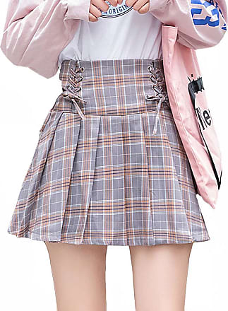 Vdual Ulzzang Women Trendy Korean Fashion Plaid Pattern High Waist Gothic Sporty Highwaist Skirt