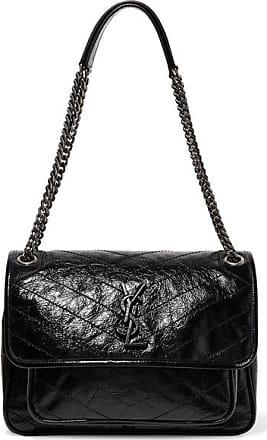 Saint Laurent Niki Medium Quilted Crinkled Patent-leather Shoulder Bag -  Black da6c37b470672