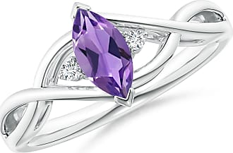 Angara Valentine Day Sale - Criss-Cross Marquise Amethyst Solitaire Ring with Diamonds