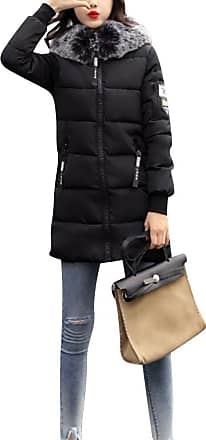 ZongSen Womens Student Big Collar Down Jacket Slim Fit Middle-Long Fashion Cotton Coat Black XL