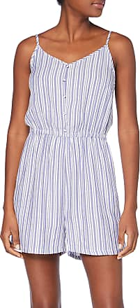 Only Womens onlSHINE Playsuit WVN, Multi-Coloured (Cloud Dancer Stripes: Y/D Blue and White), 12