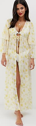 Unique21 Unique21 - Caftano lungo giallo con stampa a piccole palme e nodo sul davanti-Multicolore