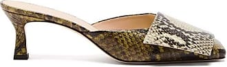 Wandler Isa Square-toe Python-effect Leather Mules - Womens - Green Multi