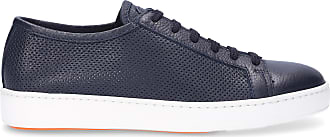 Santoni Low-Top Sneakers 20440 calfskin perforated blue