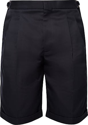 Alexander McQueen Pleated Shorts Mens Navy Blue