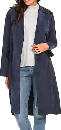 Zeagoo Women Fold Sleeve Lapel Loose Long Coat Cardigan Waterproof Windbreaker Outerwear Dark Blue XXL